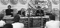 Conferenza stampa, presso le sede del Pr, per preannunciare la fiaccolata a sostegno del Tribunale Penale Internazionale. Al tavolo, da sinistra: Dani