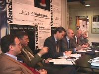 Conferenza-stampa di presentazione della marcia di Natale contro la pena di morte. Da sinistra: Giovanni Anversa - giornalista Rai; Giancarlo Santalma