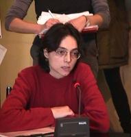 Ritratto di Barbara Bacci (attrice), durante la conferenza stampa di presentazione della marcia di Natale contro la pena di morte.
