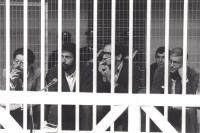 """""""Emilio Vesce, Virno, Sbrogio, Castella, imputati per il processo """"""""7 aprile"""""""", dietro le sbarre della gabbia. (Ottima di Vesce).  (BN)"""""""