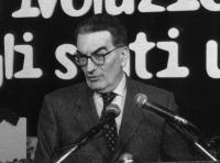 """Ritratto del professor Gianfranco Pasquino, del Comitato """"Emma for president"""", in occasione dell'Assemblea dei Mille."""