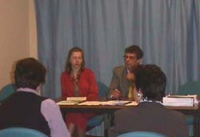 Conferenza stampa sul Kossovo, nel corso della Commissione sui diritti umani. Dietro il tavolo: Olga Cechurova (capo della della delegazione del Parti