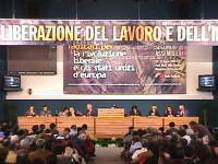 II Assemblea dei mille per gli Stati Uniti d'Europa e per la liberazione del lavoro e dell'impresa. Foto d'insieme della platea, con tavolo della  pre