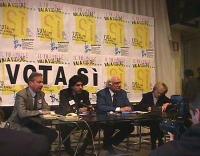 Conferenza stampa presso la sede del Partito Radicale, per preannunciare il sì di Emma Bonino e Marco Pannella al referendum per l'abolizione della qu