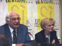 Conferenza stampa per preannunciare il sì di Emma Bonino e Marco Pannella al referendum per l'abolizione della quota proporzionale dalla legge elettor