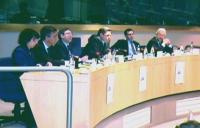 """""""Per un mercato dell'audiovisivo europeo competitivo, trasparente e di qualità"""". Dibattito alla sala Leo del Parlamento europeo. Da sinistra a destra"""