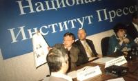 Conferenza stampa dedicata alle azioni a sostegno dell'intervento militare in Jugoslavia, presso il National Press Institute di Mosca. Partecipano: Ni