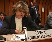 Commissione sui diritti umani a Ginevra. Briefing sulla Moratoria delle esecuzioni capitali.  Ritratto di Marina Sikora (Partito Radicale).