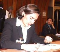 Commissione diritti umani a Ginevra. Briefing sulla moratoria universale sulle esecuzioni capitali.  Ritratto di Giulia Spagnoletti (Pr).