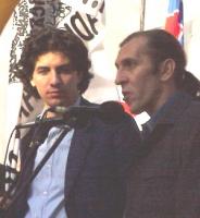 Manifestazione-marcia per la libertà in Kosovo, la democrazia in Serbia e l'incriminazione di Milosevich. Marco Cappato (a sinistra), coordinatore del