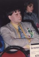 """""""Bert Van Pinxteren, segretario internazionale degli """"""""Amici della Terra"""""""" siede in platea al 36° cong, II sessione del PR."""""""