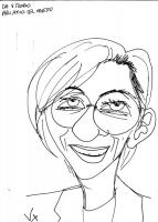 """VIGNETTA. Caricatura di Emma Bonino (disegnatore: Vittorio Zotti, della agenzia pubblicitaria Ogilvy & Mather). Sul foglio si legge la dedica: """"Da Vit"""