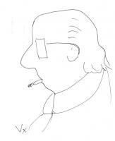 VIGNETTA Caricatura di Sergio Stanzani (disegnatore: Vittorio Zotti, della agenzia pubblicitaria Ogilvy & Mather).