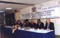 Inter Governmental Caribbean Conference on the international criminal court. Al tavolo degli oratori, da sinistra a destra: Marino Busdachin, Gianfran