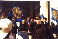 Prima cerimonia di raccolta firme per l'Istituzione del Tribunale Penale Internazionale, al Campidoglio di Roma. Si riconoscono: Emma Bonino, Kofi Ann