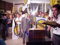 Attesa dei risultati della lista Bonino alle elezioni europee nel salone dell'Hotel Ergife. Bandiere, militanti, tecnici e giornalisti televisivi. Alt