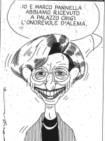 """VIGNETTA Emma Bonino, sorridente, afferma: """"Io e Marco Pannella abbiamo ricevuto a Palazzo Chigi l'onorevole D'Alema"""". La vignetta, a firma di Chiappo"""