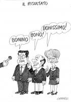 """VIGNETTA Intervistati sul risultato delle elezioni, Prodi risponde: """"Bonino""""; Berlusconi: """"Bono!""""; Emma Bonino: """"Bonissimo!"""". La vignetta di Giannelli"""