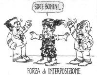 """VIGNETTA Un soldato della Nato si interpone fra Romano Prodi e Marco Pannella, in lite fra loro, dicendo: """"State bonini"""". In calce, si legge: """"Forza d"""