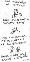"""VIGNETTA """"Una minoranza al governo"""" (caricatura di D'Alema) """"Una minoranza all'opposizione"""" (caricatura di Berlusconi) """"Una minoranza né al governo né"""