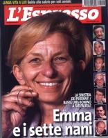 """Copertina dell'""""Espresso"""", all'indomani delle elezioni europee. Titolo: """"Emma e i sette nani"""". Occhiello:""""La sinistra dei perdentiBasta una Bonino a f"""