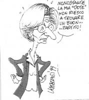 """VIGNETTA Emma Bonino, le braccia sui fianchi in segno di disappunto, esclama: """"Nonostante la mia 'dote' non riesco a trovare un buon...partito!"""". La v"""