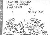"""VIGNETTA Un tizio: """"Secondo Pannella Prodi dovrebbe dimettersi"""". L'altro: """"Sì, ma da Prodi"""". La vignetta, firmata Ellekappa, apparsa sull'Unità, si ri"""