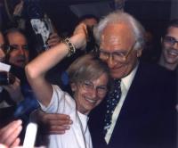 Marco Pannella ed Emma Bonino festeggiano, all'hotel Ergife, il risultato della lista Bonino alle elezioni europee.