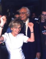 Emma Bonino e Marco Pannella festeggiano all'Hotel Ergife il risultato elettorale della lista Bonino alle europee.