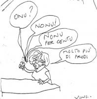 VIGNETTA Caricatura di Emma Bonino. Sopra di lei quattro fumetti che contengono le seguenti battute: -Onu? -Nonu! -Nonu per centu -Molto più di Prodi.