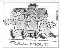"""VIGNETTA Prodi, D'Alema, Berlusconi danzano allegri, abbronzati e completamente nudi. Sotto la scritta: """"Full Monti"""". La vignetta, firmata Angese, app"""