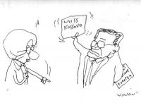 """VIGNETTA Prodi mostra a Emma Bonino il cartello: """"Miss Kossovo"""". Ma la Bonino indica perentoria il cartello - che Prodi nasconde dietro la schiena - :"""