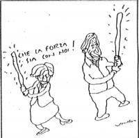 """VIGNETTA Emma Bonino e Marco Pannella brandiscono due spade rilucenti. La Bonino esclama: """"Che la forza sia con noi!"""". La vignetta, firmata Vincino, a"""