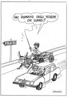 VIGNETTA Sull'autostrada per Bologna Berlusconi, al volante con al fianco Emma Bonino, supera Massimo D'Alema che arranca su un carretto trainato dal