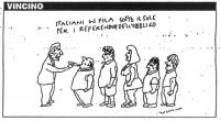 """VIGNETTA Sotto la didascalia: """"Italiani in fila sotto il sole per i referendum dell'obbligo"""", si vede Pannella esaminare come un medico cittadini in f"""