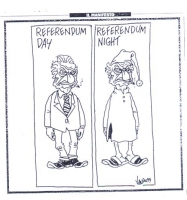 "VIGNETTA Due riquadri: ""Referendum day"" (Pannella in giacca e cravatta, con la sigaretta in bocca); ""Referendum night"" (Pannella in pigiama, col berre"