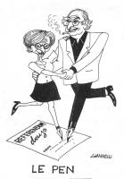 """VIGNETTA Emma Bonino e Marco Pannella, ciascuno con una gamba a forma di penna stilografica, firmano un foglio su cui è scritto """"Referendum days"""". Sot"""