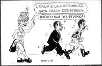 """VIGNETTA Una Emma Bonino, in vesti sia di simbolo dell'Italia sia di meretrice, afferma: """"L'Italia è una repubblica nata dalla desistenza!"""". Silvio Be"""