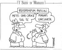 """VIGNETTA Intestazione: """"Referendum radicali"""" Un tizio a un altro tizio: """"Metti una croce sul sì"""". L'altro: """"Magari uncinata"""". La vignetta, firmata Mar"""