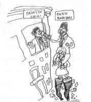 """VIGNETTA Marco Pannella """"a cavacecio"""" di Emma Bonino, dà, letteralmente, scalata a Palazzo Chigi.  Si affaccia alla finestra il presidente del consigl"""