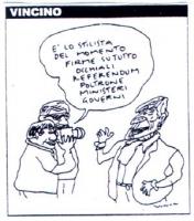 """VIGNETTA Alcuni giornalisti di fronte a Marco Pannella dicono: """"E' lo stilista del momento firme su tutto occhiali referendum poltrone ministeri gover"""