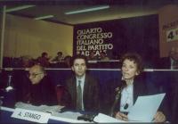 Quarto Congresso Italiano del Partito Radicale Transnazionale. Alla tribuna: Sergio Stanzani, Antonio Stango, Emma Bonino.