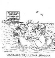 """VIGNETTA Titolo in calce: """"Vacanze '93, l'ultima spiaggia"""". Scalfaro galleggia su una ciambella che reca il busto di Pannella. Sullo sfondo un cartell"""