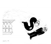 """VIGNETTA Andreotti e Craxi, gettati da un balcone, compongono con i loro corpi la scritta: """"Sì"""". La vittoria di Forattini si riferisce alla vittoria s"""