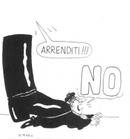 """VIGNETTA """"I socialisti invitano a votare 'sì' nel referendum sulla responsabilità civile dei giudici"""" (Didascalia di Forattini, autore della vignetta)"""