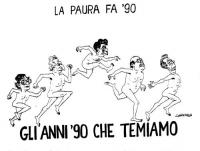 """VIGNETTA """"La paura fa '90"""" Giorgio La Malfa, Marco Pannella, Achille Occhetto, Bettino Craxi, Arnaldo Forlani, nudi, corrono in fila. Sotto il titolo:"""