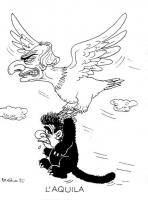 """VIGNETTA Un'aquila con il volto di Marco Pannella afferra negli artigli Achille Occhetto. Titolo in calce: """"L'aquila"""". Didascalia di Forattini, autore"""