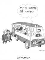"""VIGNETTA Mario Segni, alla guida di un autobus, afferma: """"Per il Senato sì cambia"""". Dall'autobus scendono Craxi, Sbardella, Cirino Pomicino, De Michel"""