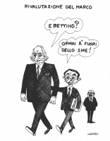 """VIGNETTA Titolo in alto: """"Rivalutazione del marco. Pannella, sottobraccio a Giuliano Amato, chiede: """"E Bettino?"""". E Amato: """"Ormai è fuori dello Sme""""."""