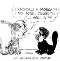 """VIGNETTA Gorbaciov in veste di orso, apostrofa Occhetto (in veste di gatto): """"I radicali a Mosca?!!! E non potevi tenerteli all'Aquila?!!!"""". Titolo in"""